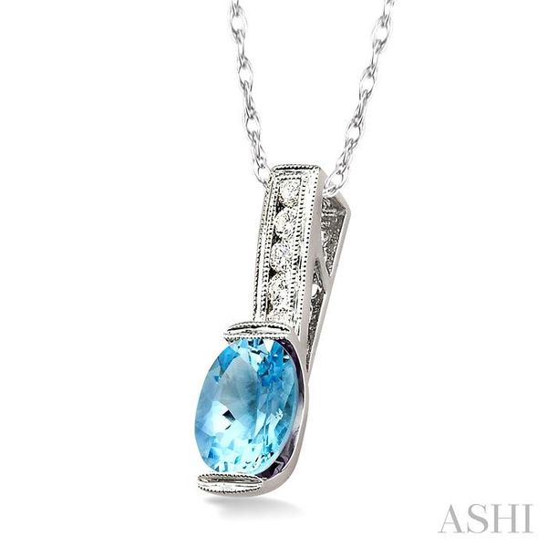 8x6 MM Oval Shape Aquamarine and 1/10 Ctw Diamond Pendant in 14K White Gold with Chain Image 2 Trinity Diamonds Inc. Tucson, AZ