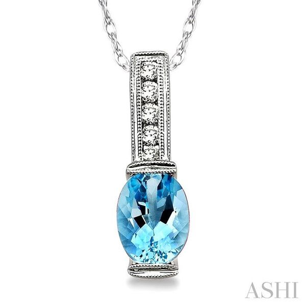 8x6 MM Oval Shape Aquamarine and 1/10 Ctw Diamond Pendant in 14K White Gold with Chain Trinity Diamonds Inc. Tucson, AZ