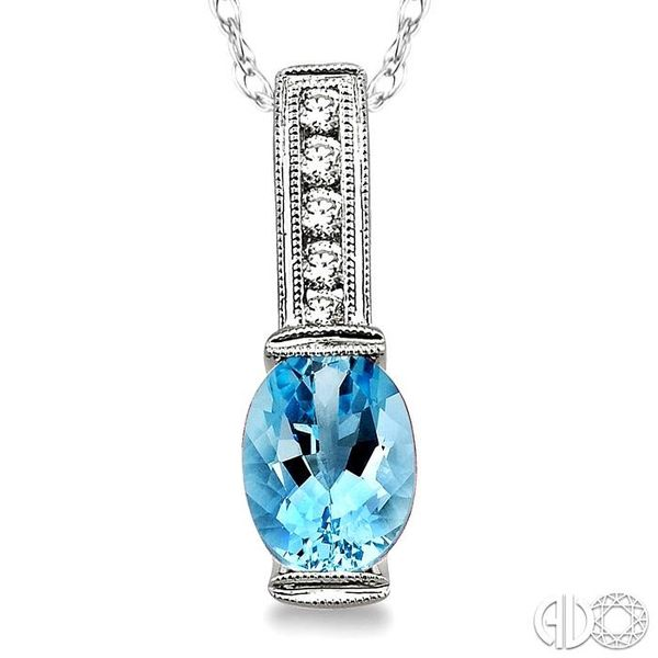 8x6 MM Oval Shape Aquamarine and 1/10 Ctw Diamond Pendant in 14K White Gold with Chain Image 3 Trinity Diamonds Inc. Tucson, AZ