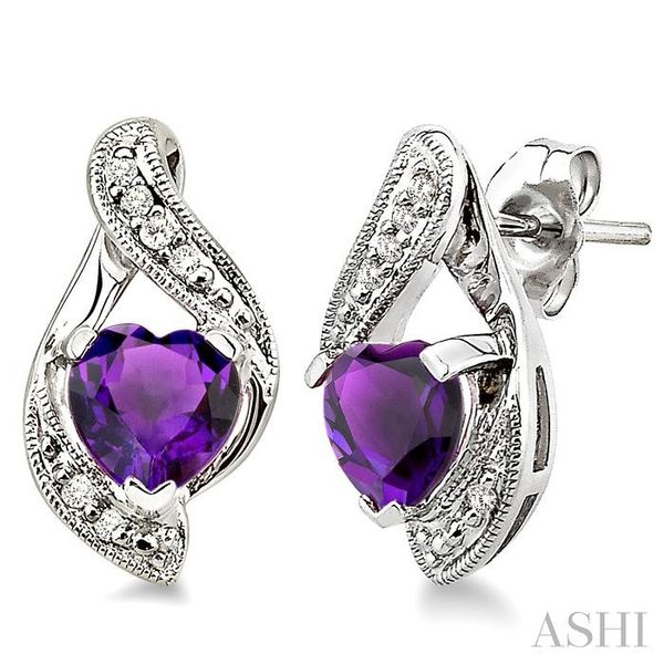 6mm Heart Shape Amethyst and 1/20 Ctw Single Cut Diamond Earrings in 14K White Gold Trinity Diamonds Inc. Tucson, AZ