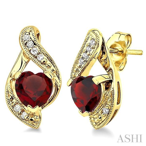 6x6mm Heart Shape Garnet and 1/20 Ctw Single Cut Diamond Earrings in 14K Yellow Gold Trinity Diamonds Inc. Tucson, AZ