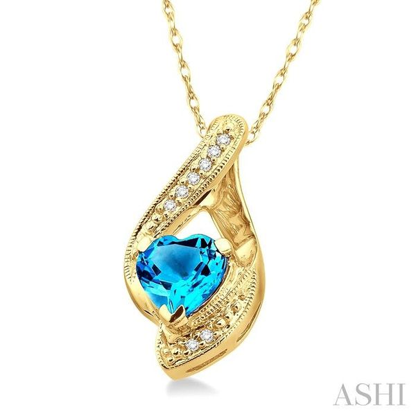 7mm Heart Shape Blue Topaz and 1/20 Ctw Single Cut Diamond Pendant in 14K Yellow Gold with Chain Image 2 Trinity Diamonds Inc. Tucson, AZ
