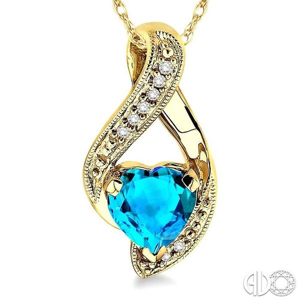 7mm Heart Shape Blue Topaz and 1/20 Ctw Single Cut Diamond Pendant in 14K Yellow Gold with Chain Image 3 Trinity Diamonds Inc. Tucson, AZ