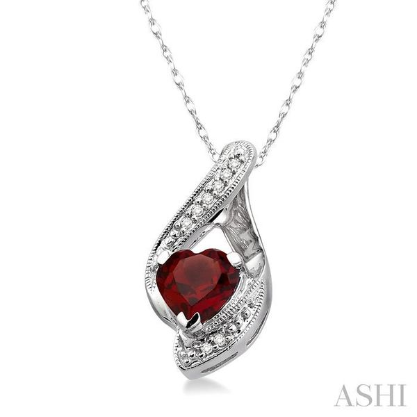 7mm Heart Shape Garnet and 1/20 Ctw Single Cut Diamond Pendant in 14K White Gold with Chain Image 2 Trinity Diamonds Inc. Tucson, AZ