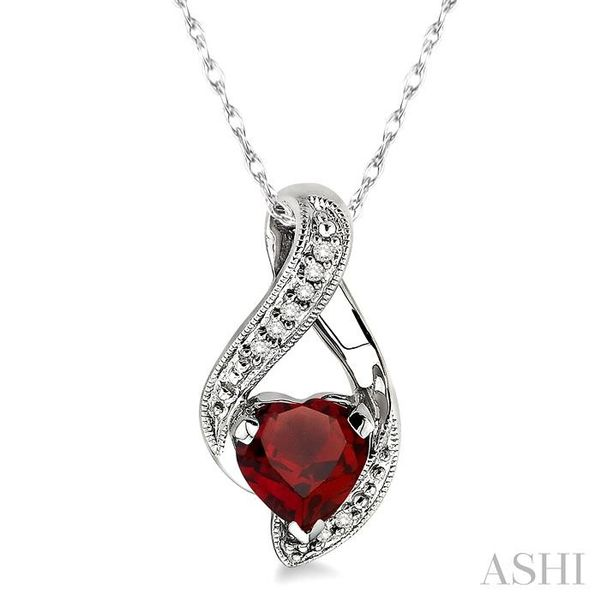7mm Heart Shape Garnet and 1/20 Ctw Single Cut Diamond Pendant in 14K White Gold with Chain Trinity Diamonds Inc. Tucson, AZ