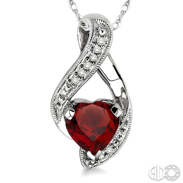 7mm Heart Shape Garnet and 1/20 Ctw Single Cut Diamond Pendant in 14K White Gold with Chain Image 3 Trinity Diamonds Inc. Tucson, AZ