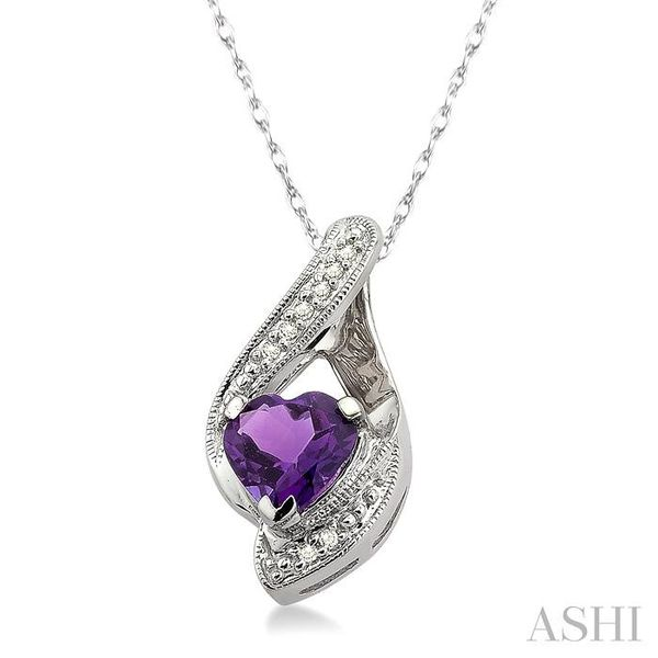 7mm Heart Shape Amethyst and 1/20 Ctw Single Cut Diamond Pendant in 10K White Gold with Chain Image 2 Trinity Diamonds Inc. Tucson, AZ