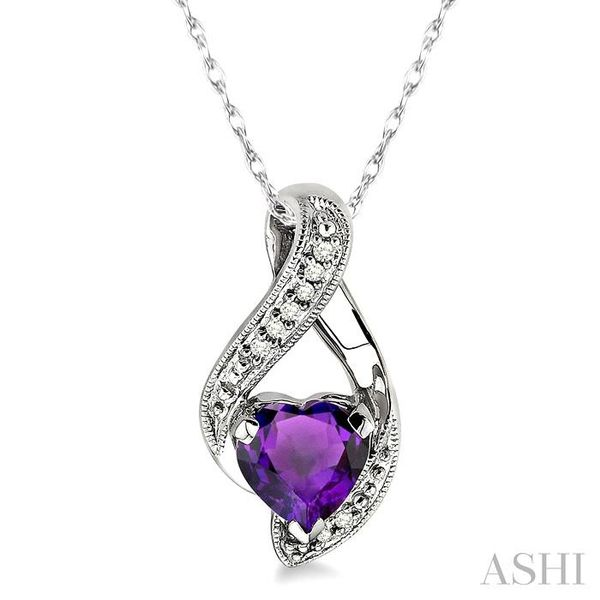 7mm Heart Shape Amethyst and 1/20 Ctw Single Cut Diamond Pendant in 10K White Gold with Chain Trinity Diamonds Inc. Tucson, AZ