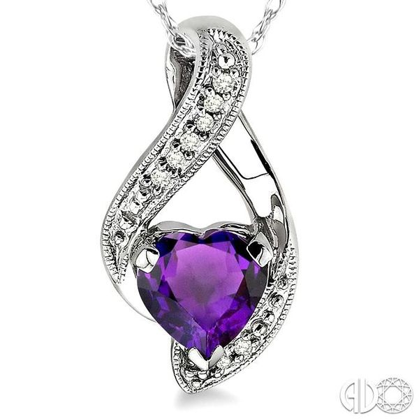 7mm Heart Shape Amethyst and 1/20 Ctw Single Cut Diamond Pendant in 10K White Gold with Chain Image 3 Trinity Diamonds Inc. Tucson, AZ