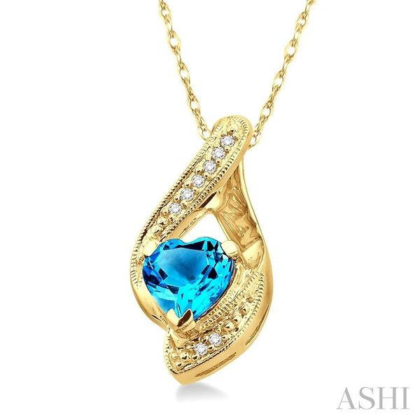 7mm Heart Shape Blue Topaz and 1/20 Ctw Single Cut Diamond Pendant in 10K Yellow Gold with Chain Image 2 Trinity Diamonds Inc. Tucson, AZ