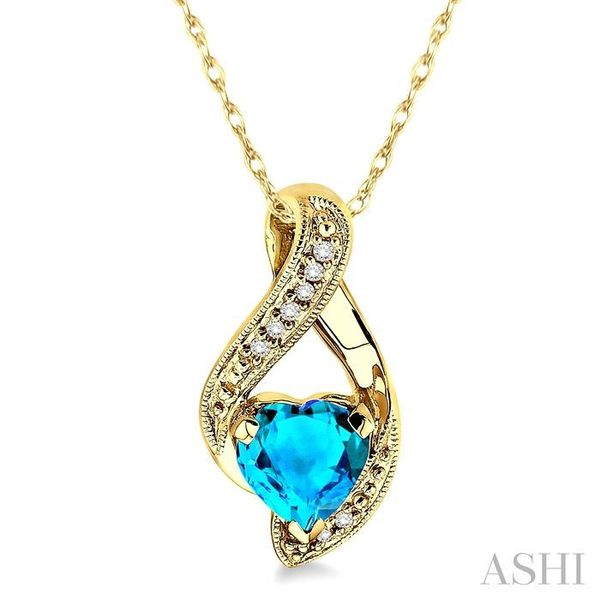 7mm Heart Shape Blue Topaz and 1/20 Ctw Single Cut Diamond Pendant in 10K Yellow Gold with Chain Trinity Diamonds Inc. Tucson, AZ