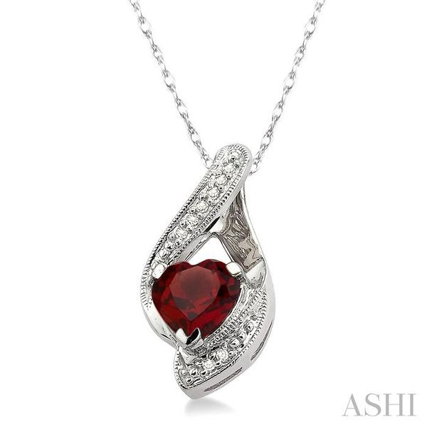 7x7mm Heart Shape Garnet and 1/20 Ctw Single Cut Diamond Pendant in 10K White Gold with Chain Image 2 Trinity Diamonds Inc. Tucson, AZ