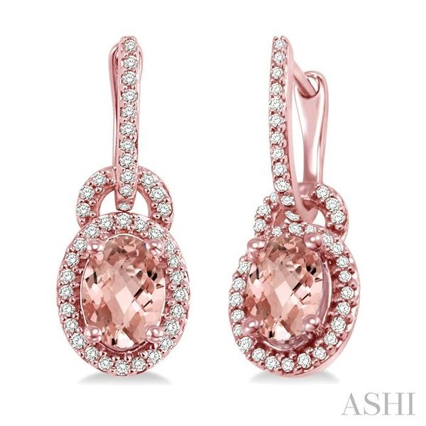 7x5mm Oval Cut Morganite and 1/3 Ctw Round Cut Diamond Earrings in 14K Rose Gold Trinity Diamonds Inc. Tucson, AZ