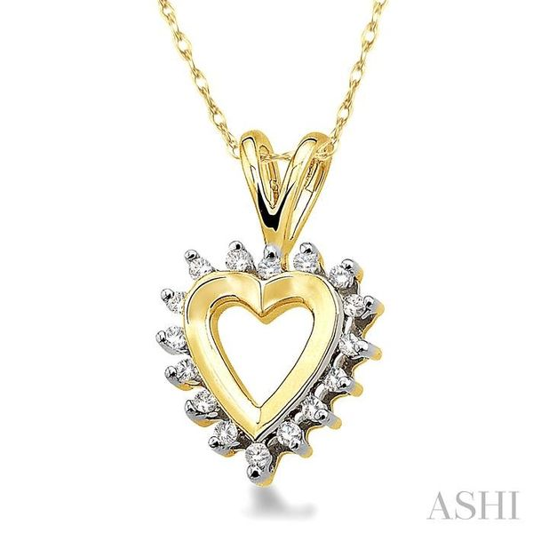 1/10 Ctw Single Cut Diamond Heart Pendant in 10K Yellow Gold with Chain Image 2 Trinity Diamonds Inc. Tucson, AZ