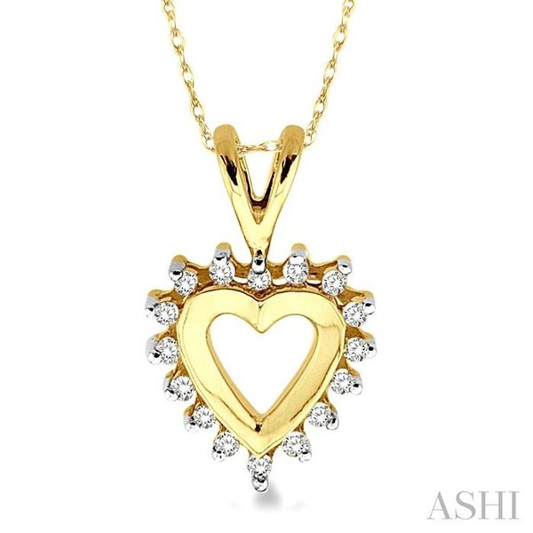 1/10 Ctw Single Cut Diamond Heart Pendant in 10K Yellow Gold with Chain Trinity Diamonds Inc. Tucson, AZ