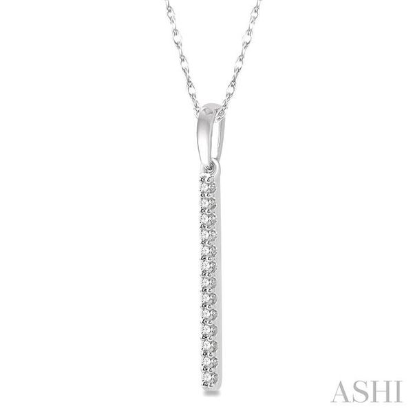 1/10 Ctw Straight Bar Round Cut Diamond Pendant in 10K White Gold Image 2 Trinity Diamonds Inc. Tucson, AZ