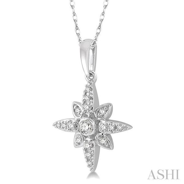 1/10 Ctw Flower Motif Round Cut Diamond Pendant With Link Chain in 10K White Gold Image 2 Trinity Diamonds Inc. Tucson, AZ