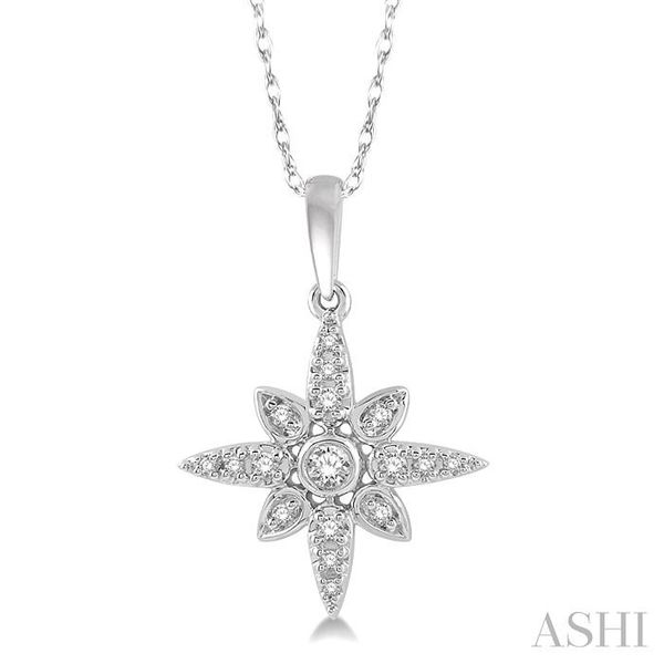 1/10 Ctw Flower Motif Round Cut Diamond Pendant With Link Chain in 10K White Gold Trinity Diamonds Inc. Tucson, AZ