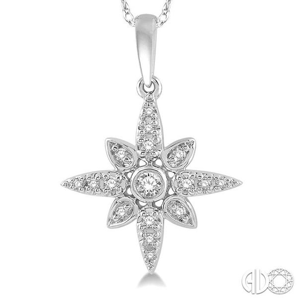 1/10 Ctw Flower Motif Round Cut Diamond Pendant With Link Chain in 10K White Gold Image 3 Trinity Diamonds Inc. Tucson, AZ