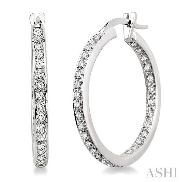 1/2 Ctw Round Cut Diamond Hoop Earrings in 14K White Gold Trinity Diamonds Inc. Tucson, AZ