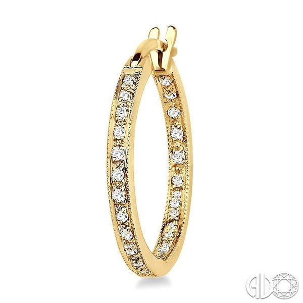 1/4 Ctw Round Cut Diamond Hoop Earrings in 14K Yellow Gold Image 3 Trinity Diamonds Inc. Tucson, AZ