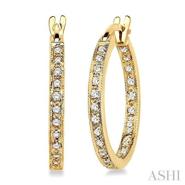 1/4 Ctw Round Cut Diamond Hoop Earrings in 14K Yellow Gold Trinity Diamonds Inc. Tucson, AZ
