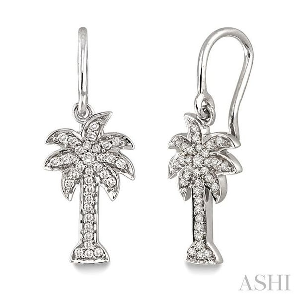 1/4 Ctw Palm Tree Single Cut Diamond Earrings in 10K White Gold Trinity Diamonds Inc. Tucson, AZ