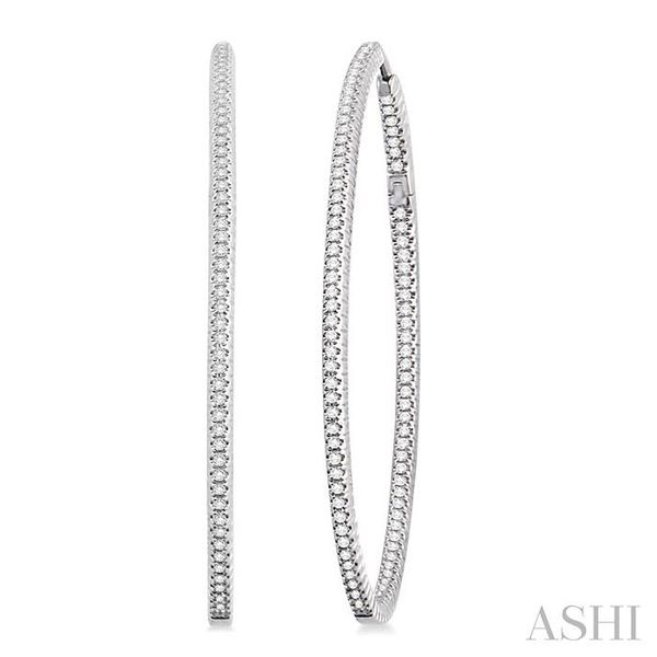 3/4 Ctw Oval Shape Round Cut Diamond Hoop Earrings in 14K White Gold Trinity Diamonds Inc. Tucson, AZ