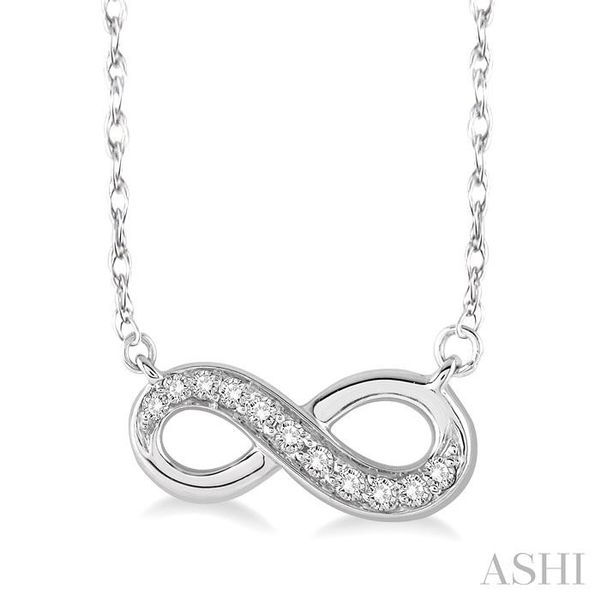 1/6 Ctw Round Cut Diamond Infinity Pendant in 14K White Gold with Chain Image 2 Trinity Diamonds Inc. Tucson, AZ