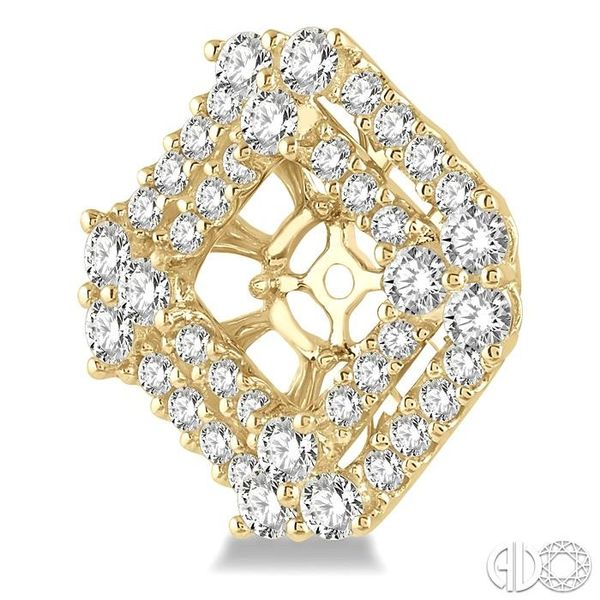 1 5/8 Ctw Cushion Shape Round Cut Diamond Earrings Jacket in 14K Yellow Gold Image 3 Trinity Diamonds Inc. Tucson, AZ