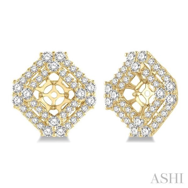 1 5/8 Ctw Cushion Shape Round Cut Diamond Earrings Jacket in 14K Yellow Gold Trinity Diamonds Inc. Tucson, AZ