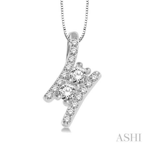 3/4 Ctw Twin Center Parallel Bar Round Cut Diamond 2Stone Pendant With Link Chain in 14K White Gold Trinity Diamonds Inc. Tucson, AZ