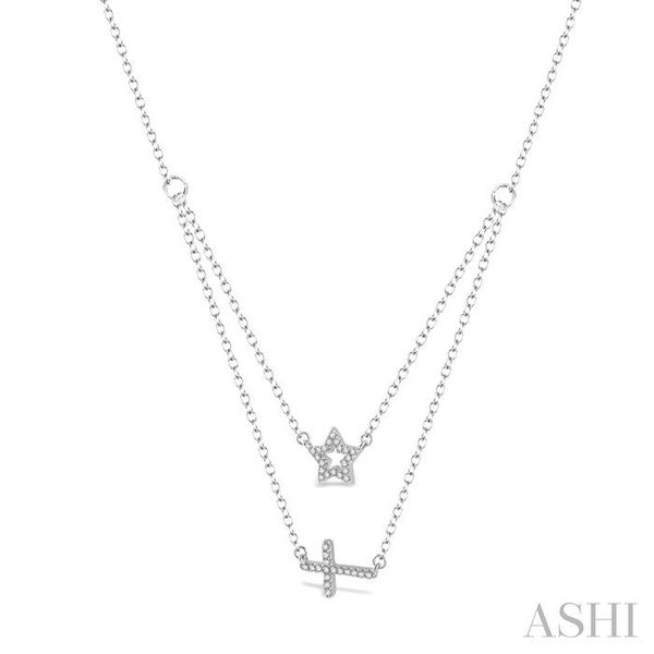 1/6 Ctw Star & Cross Charm Round Cut Diamond Layered Pendant With Link Chain in 10K White Gold Image 2 Trinity Diamonds Inc. Tucson, AZ