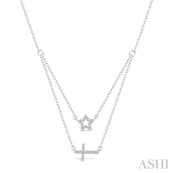 1/6 Ctw Star & Cross Charm Round Cut Diamond Layered Pendant With Link Chain in 10K White Gold Trinity Diamonds Inc. Tucson, AZ