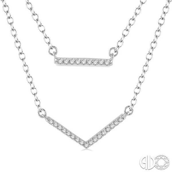 1/6 Ctw Bar & V-shape Round Cut Diamond Layered Pendant With Link Chain in 10K White Gold Image 3 Trinity Diamonds Inc. Tucson, AZ
