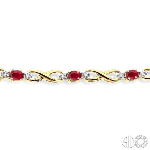 4x3mm Oval Cut Ruby and 1/10 Ctw Single Cut Diamond Tennis Bracelet in 10K Yellow Gold Image 3 Trinity Diamonds Inc. Tucson, AZ