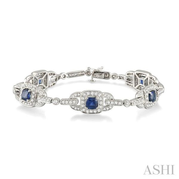 5x5mm Cushion Cut Sapphire and 2 Ctw Round Cut Diamond Tennis Bracelet in 14K White Gold Trinity Diamonds Inc. Tucson, AZ