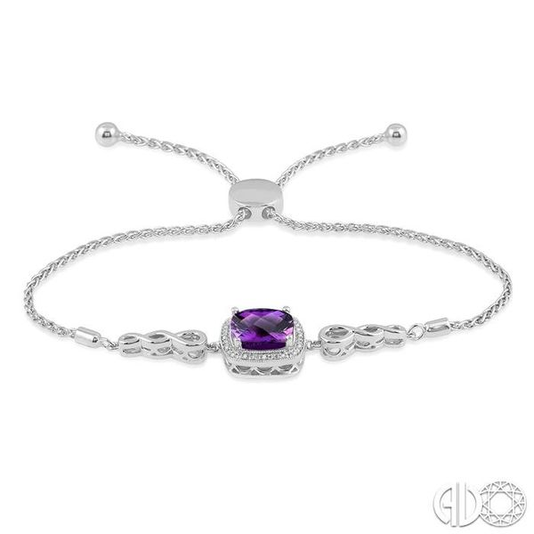 1/20 Ctw Cushion Cut 10x10mm Amethyst Round Cut Diamond Sterling Silver Lariat Tennis Bracelet Image 3 Trinity Diamonds Inc. Tucson, AZ