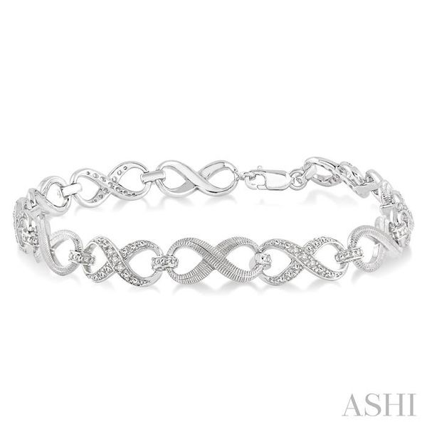 1/10 Ctw Round Cut Diamond Swirl Tennis bracelet in Sterling Silver Trinity Diamonds Inc. Tucson, AZ