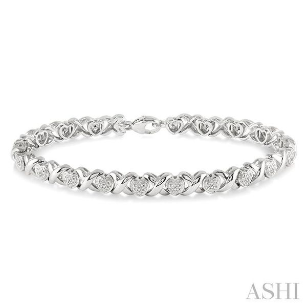 1/10 Ctw 'X' and Heart Shape Single Cut Diamond Tennis Bracelet in Sterling Silver Trinity Diamonds Inc. Tucson, AZ