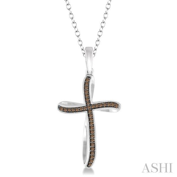 1/6 Ctw Round Cut Champagne Brown Diamond Cross Pendant in Sterling Silver with Chain Trinity Diamonds Inc. Tucson, AZ