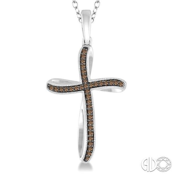 1/6 Ctw Round Cut Champagne Brown Diamond Cross Pendant in Sterling Silver with Chain Image 3 Trinity Diamonds Inc. Tucson, AZ