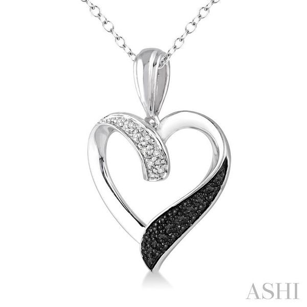 1/8 Ctw White and Black Diamond Heart Shape Pendant in Sterling Silver with Chain Image 2 Trinity Diamonds Inc. Tucson, AZ