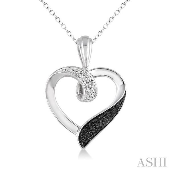 1/8 Ctw White and Black Diamond Heart Shape Pendant in Sterling Silver with Chain Trinity Diamonds Inc. Tucson, AZ