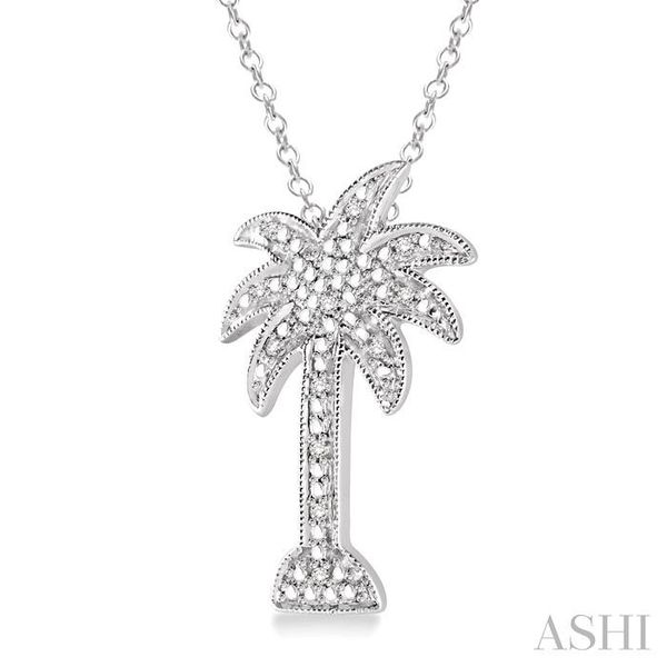 1/20 Ctw Single Cut Diamond Palm Tree Pendant in Sterling Silver with Chain Image 2 Trinity Diamonds Inc. Tucson, AZ