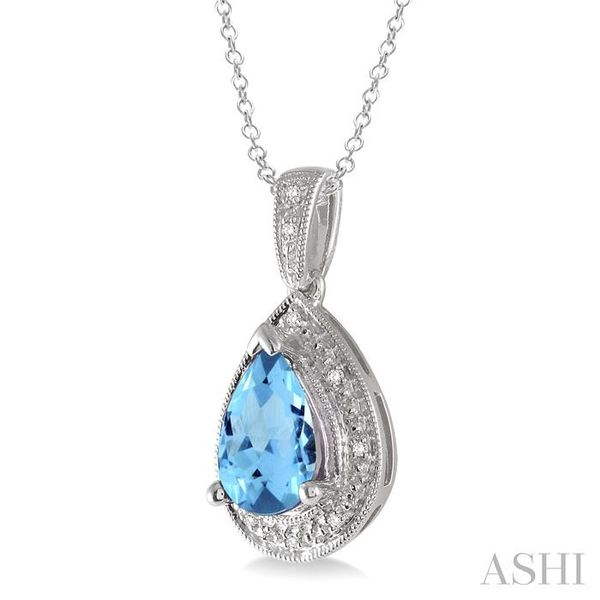 10x7 MM Pear Shape Blue Topaz and 1/20 Ctw Single Cut Diamond Pendant in Sterling Silver with chain Image 2 Trinity Diamonds Inc. Tucson, AZ