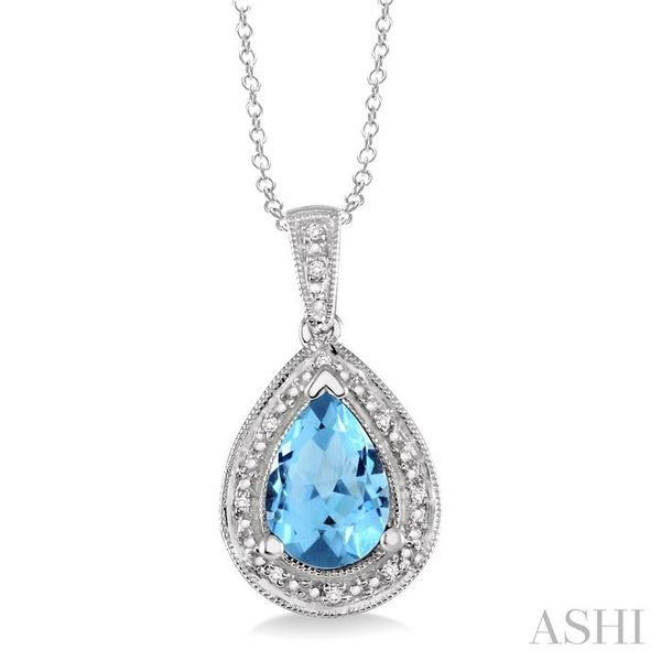 10x7 MM Pear Shape Blue Topaz and 1/20 Ctw Single Cut Diamond Pendant in Sterling Silver with chain Trinity Diamonds Inc. Tucson, AZ