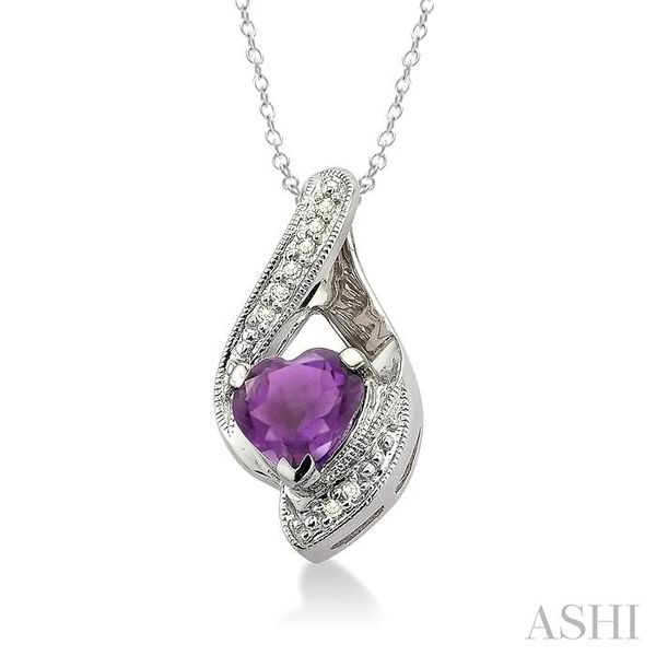 7x7MM Heart Shape Amethyst and 1/20 Ctw Single Cut Diamond Pendant in Sterling Silver with Chain Image 2 Trinity Diamonds Inc. Tucson, AZ