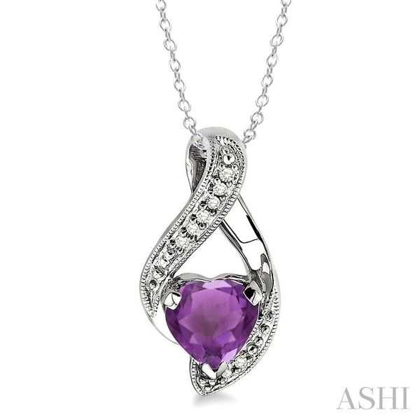 7x7MM Heart Shape Amethyst and 1/20 Ctw Single Cut Diamond Pendant in Sterling Silver with Chain Trinity Diamonds Inc. Tucson, AZ