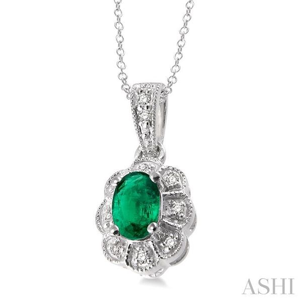 6x4 mm Oval Cut Emerald and 1/20 ctw Single Cut Diamond Pendant in Sterling Silver with Chain Image 2 Trinity Diamonds Inc. Tucson, AZ